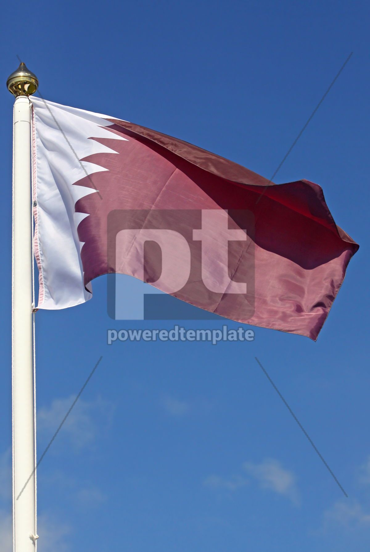 National flag of Qatar on blue sky background, 04269, Education — PoweredTemplate.com