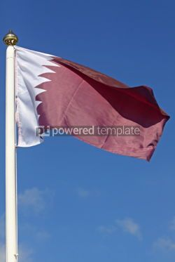 Education: National flag of Qatar on blue sky background #04269