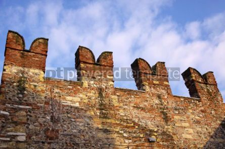 Architecture : Fragment of XIX century old city wall over blue sky. Verona Ita #04286