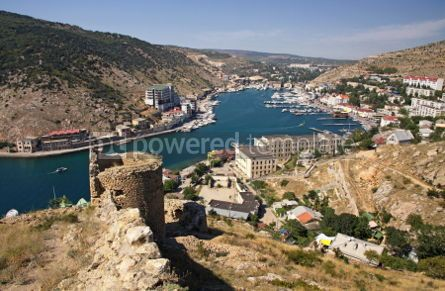 Architecture : Bird-eye view of Balaklava bay with yachts and small ships Crim #04287