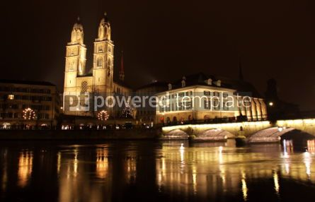 Architecture: Zurich downtown at night Switzerland #04288