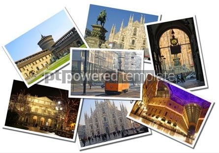 Architecture : Collage made of postcards of the Milan city Italy #04291