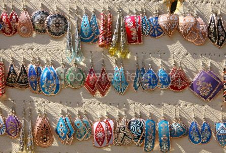 Arts & Entertainment: Colourful handmade asian-style earrings on a market stall in Ist #04292