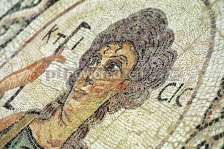 Arts & Entertainment: The close-up fragment of ancient Christianity mosaic in Kourion #04305