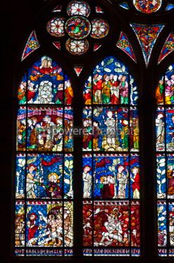 Arts & Entertainment: Stained-glass windows of Strasbourg Cathedral Alsace France #04306