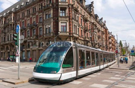 Transportation: Modern tram on a street of Strasbourg France #04310