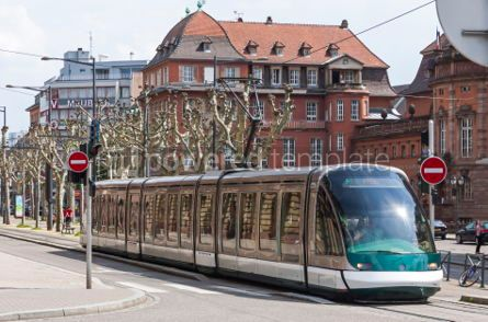 Transportation: Modern tram on a street of Strasbourg France #04311