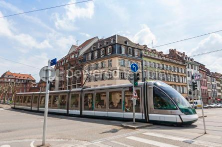 Transportation: Modern tram on a street of Strasbourg France #04312