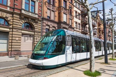 Transportation: Modern tram on a street of Strasbourg France #04313