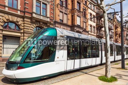 Transportation: Modern tram on a street of Strasbourg France #04314
