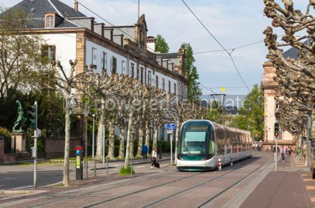 Transportation: Modern tram on a street of Strasbourg France #04315