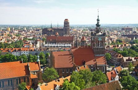 Architecture : Bird eye view of Gdansk city centre Poland #04360