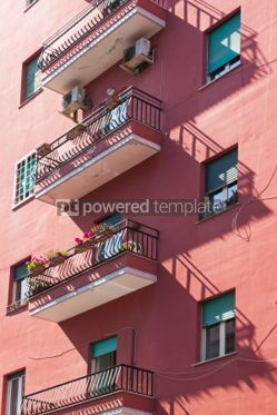 Architecture: Italian style balconies of the building in Naples Italy #04381