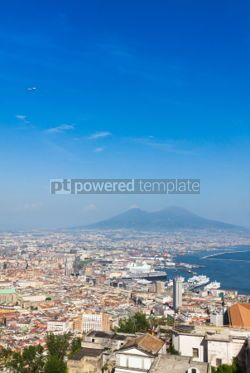 Architecture : Scenic view of Naples city and Mount Vesuvius Italy #04385