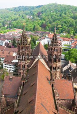 Architecture : Towers of Freiburg Munster cathedral Freiburg im Breisgau city #04422