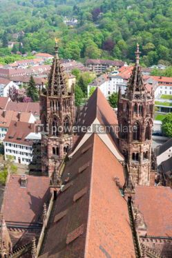 Architecture : Towers of Freiburg Munster cathedral Freiburg im Breisgau city #04424