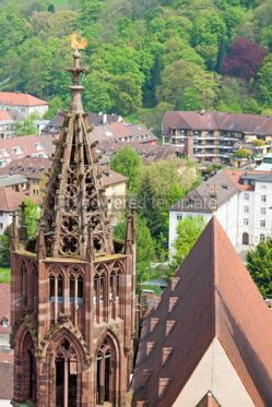 Architecture : Tower of Freiburg Munster cathedral Freiburg im Breisgau city  #04426