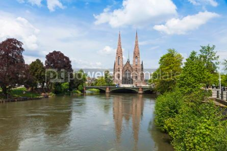 Architecture: Picturesque view of St. Paul church and Ill river in Strasbourg #04440