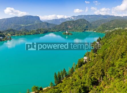Nature: Panoramic view of Bled Lake Slovenia #04462