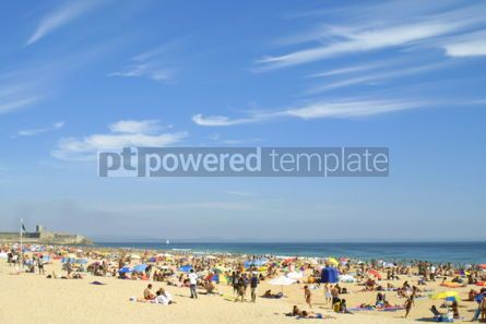 People: Crowded Atlantic summer beach in Carcavelos Portugal #04471
