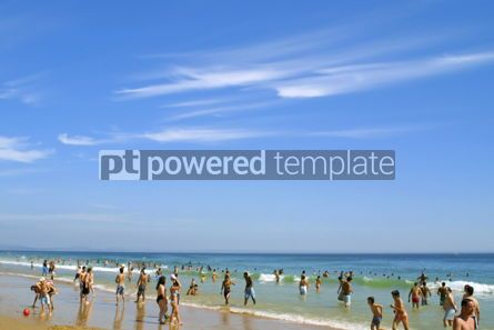 People: Crowded Atlantic summer beach in Carcavelos Portugal #04472