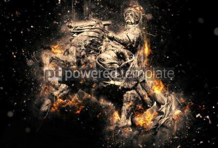 Abstract: Equestrian statue of Bohdan Khmelnytsky in Kyiv. Artistic grunge #04489