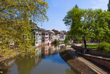 Architecture : Water canal in Petite France area in Strasbourg city France #04493
