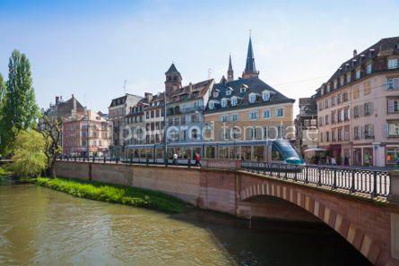 Transportation: Modern tram on the streets of Strasbourg France #04502