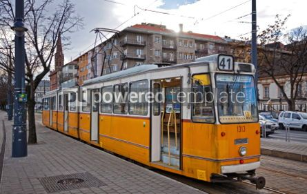 Transportation: Tram on the street of Budapest Hungary #04505