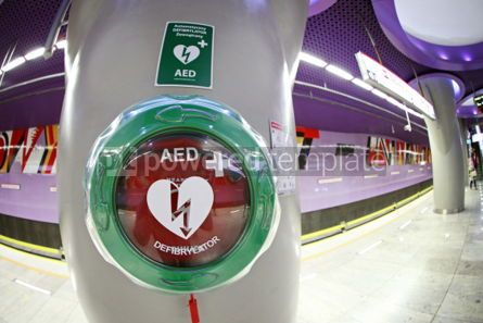 Health: Automatic External Defibrillator at the Metro station in Warsaw #04538