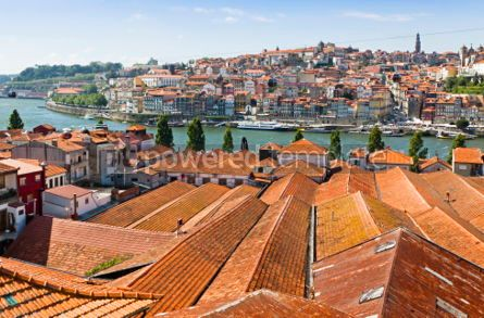 Architecture : Aerial view of orange tile rooftops in Porto Portugal #04562