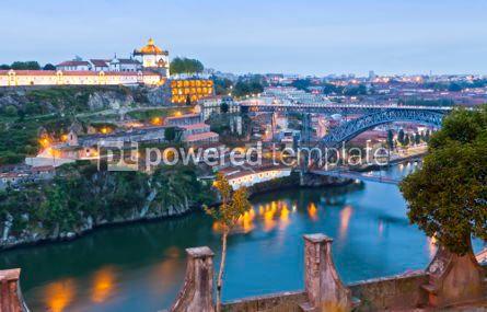 Architecture : Evening view of Dom Luis I Bridge and Duoro river Porto Portug #04570