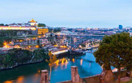 Architecture : Evening view of Dom Luis I Bridge and Duoro river Porto Portug #04571