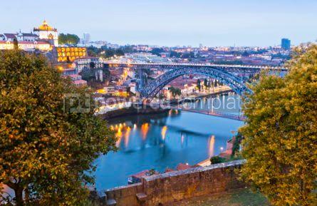 Architecture : Evening view of Dom Luis I Bridge and Duoro river Porto Portug #04572