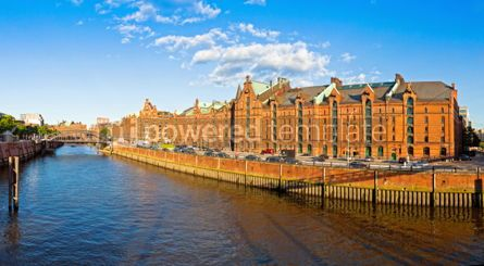Architecture : Panoramic view of Speicherstadt district in Hamburg Germany #04575