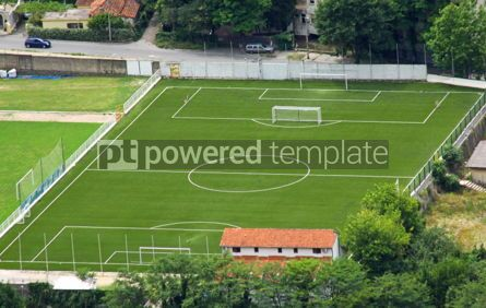 Sports : Bird-eye view of little town soccer field #04578