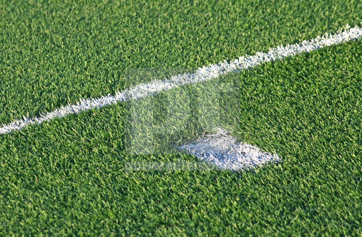 White stripes on the green football soccer field, 04582, Sports — PoweredTemplate.com