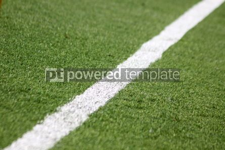 Sports : White stripe on the green soccer field #04584