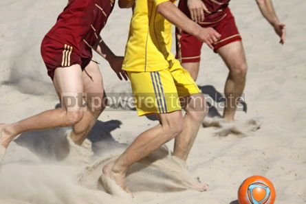 Sports: People playing soccer on a beach #04594