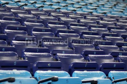 Sports: Blue empty seats on the stadium #04597