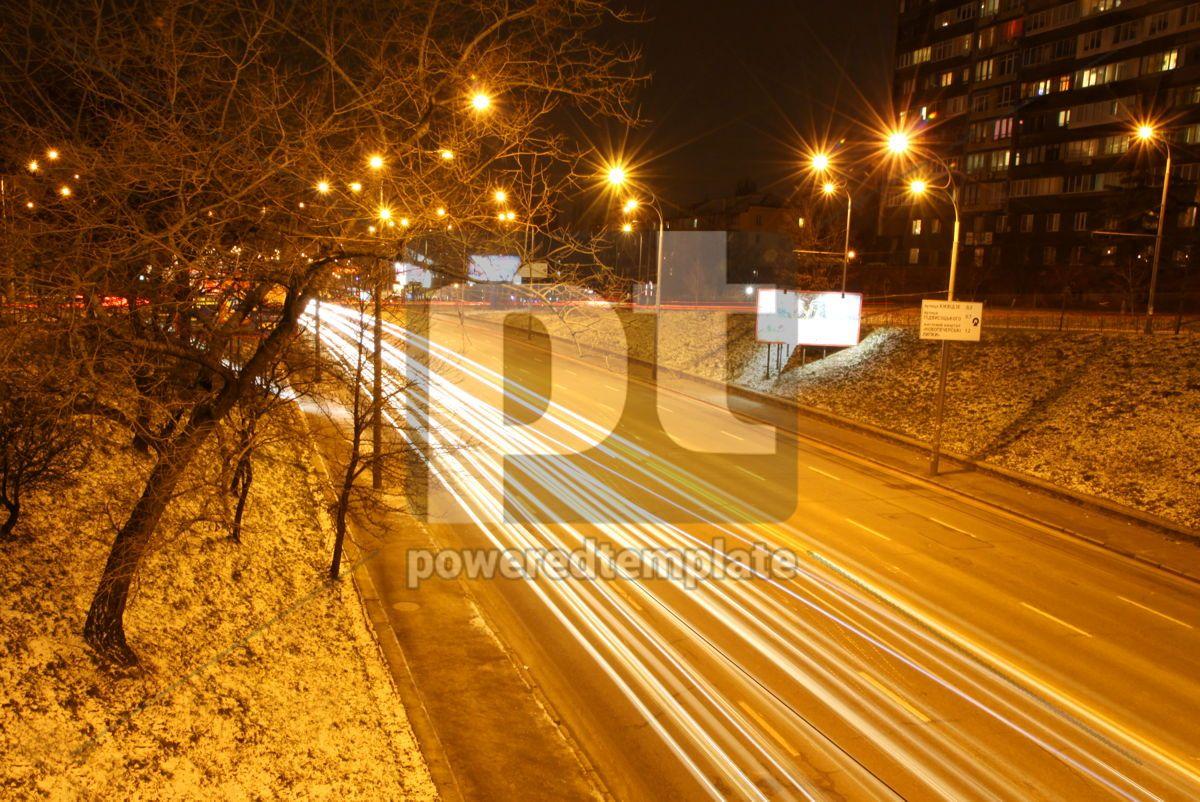 Long exposure of night road traffic in Kyiv Ukraine, 04603, Transportation — PoweredTemplate.com