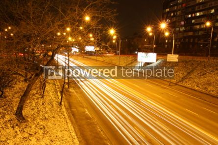 Transportation: Long exposure of night road traffic in Kyiv Ukraine #04603