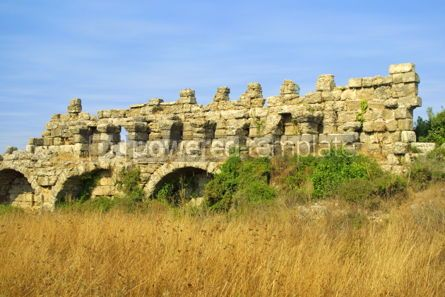 Architecture : Ancient roman aqueduct in Side Turkey #04609