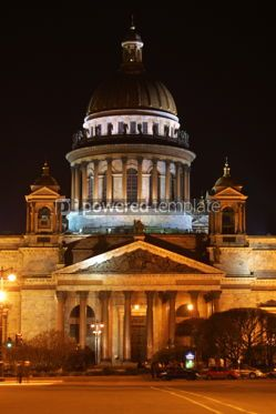 Architecture: St. Isaak'c cathedral church in night. Saint-petersburg Russia #04614