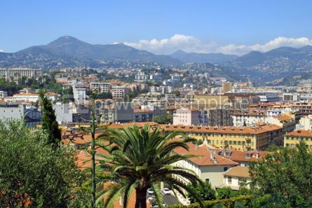 Architecture: Bird eye view panorama of City of Nice France #04616