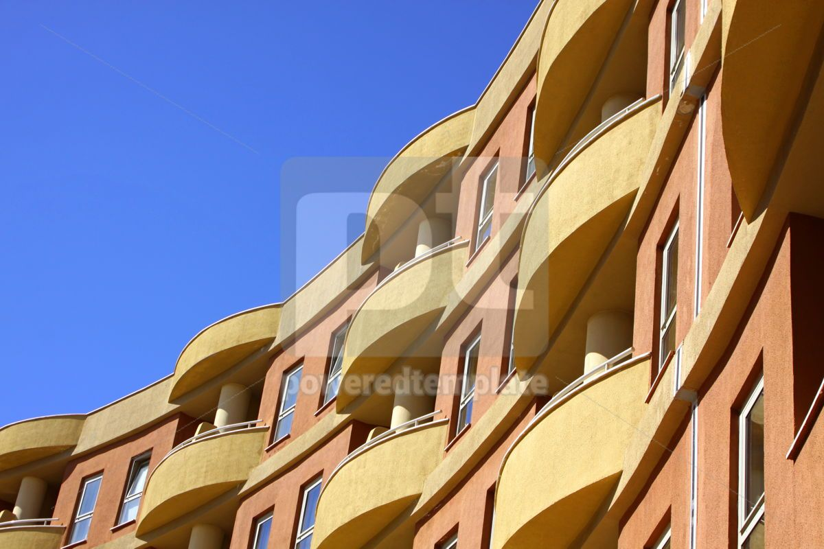 Close-up modern building with blue sky background, 04617, Architecture  — PoweredTemplate.com