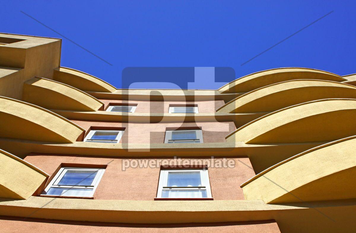 Close-up modern building with blue sky background, 04618, Architecture — PoweredTemplate.com