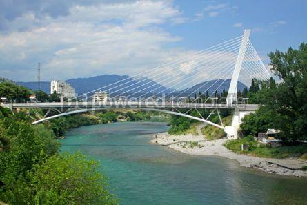 Architecture : Millennium bridge over Moraca river in Podgorica Montenegro #04628