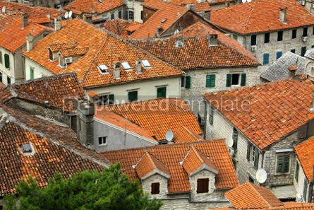 Architecture : Bird eye view of buildings in Kotor old town Montenegro #04630