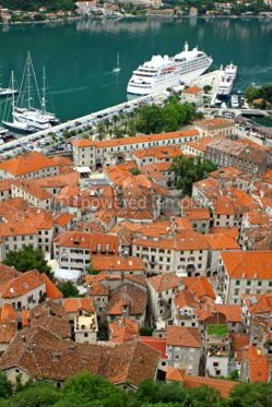 Architecture : Bird eye view of sea port and Kotor old town Montenegro #04633